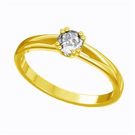 Помолвочное кольцо с 1 бриллиантом 0,21 ct 4/5  из желтого золота 585°, артикул R-D44706-1