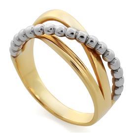 Кольцо из желтого и белого золота 585 пробы , артикул R-GT-1014-12