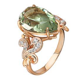 Кольцо с 1 аквамарином из розового золота 585°, артикул R-1-1637-КаФ