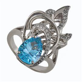 Кольцо из серебра 925° с топазом и фианитами, артикул R-22636с