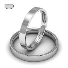 Обручальное кольцо классическое из белого золота, ширина 3 мм, комфортная посадка, артикул R-W735W