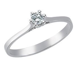 Помолвочное кольцо с 1 бриллиантом 0,15 ct 5/6 белое золото 750°, артикул R-TRN03591-08