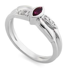 Кольцо с 1 рубином 0,10 ct 2/2  и с 4 бриллиантами0,06 ct 3/5 из белого золота 750°, артикул R-7058