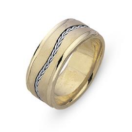 Обручальное кольцо из двухцветного золота 585 пробы, артикул R-СЕ032