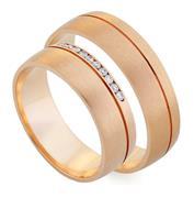 Обручальные кольца парные с бриллиантами из золота 585 пробы, артикул R-80603-3м