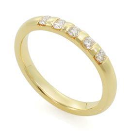 Обручальное кольцо с 5 бриллиантами 0,25 карат желтое золото, артикул R-1672-1