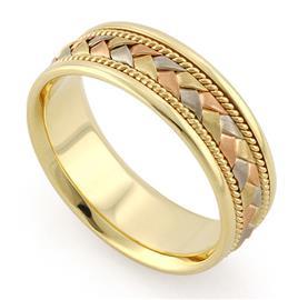 Обручальное кольцо из трехцветного золота 585 пробы, артикул R-V1040