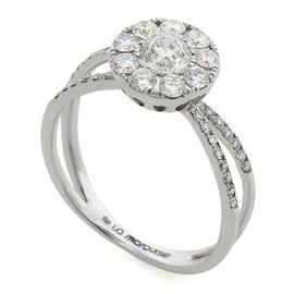 Кольцо с 44 бриллиантами 0,76 ct (центр 1 бриллиант 0,31 ct 4/4, 9 бриллиантов 0,34 ct 4/5,  боковые 34  бриллианта 0,11 ct 4/5) из белого золота 750°, артикул R-MR013023