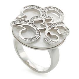 Кольцо с 45 бриллиантами 0,20 ct 4/5 с перламутром из белого золота 750°, артикул R-СК1185