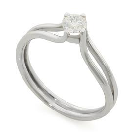Помолвочное кольцо с 1 бриллиантом 0,31 ct 4/6 белое золото 750°, артикул R-СК1100