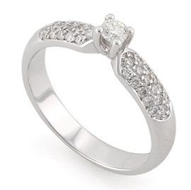 Помолвочное кольцо с 33  бриллиантами 0,47 ct (центр 1 бриллиант 0,15 ct 4/5, 32 бриллианта боковые 0,32 ct 4/5) белое золото 585°, артикул R-L1929-2 0.15