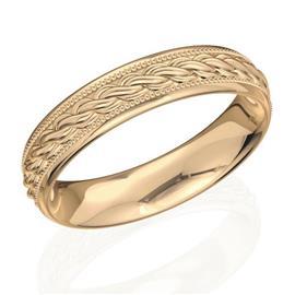 Обручальное кольцо дизайнерское из розового золота, ширина 4 мм, комфортная посадка, артикул R-W45342-2