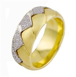 Обручальное кольцо с бриллиантами из золота 585 пробы, артикул R-2261