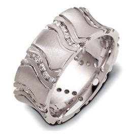 "Обручальное кольцо с бриллиантами из белого золота 585 пробы с бриллиантами, серия ""Diamond"", артикул R-2223"