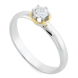 Помолвочное кольцо с 1 бриллиантом 0,27 ct 3/5 белое золото 585°, артикул R-R0018WY