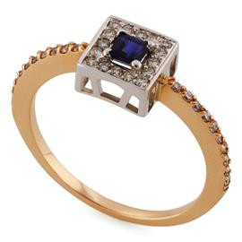 Кольцо с 1 сапфиром 0,25 ct 2/3 и 16 бриллиантами 0,28 ct 4/5 из розового и белого золота 585°, артикул R-XR01448
