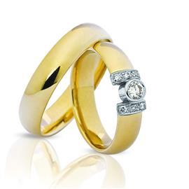 """Обручальные кольца парные из золота 585 пробы серии """"Twin Set"""", артикул R-ТС 1682"""