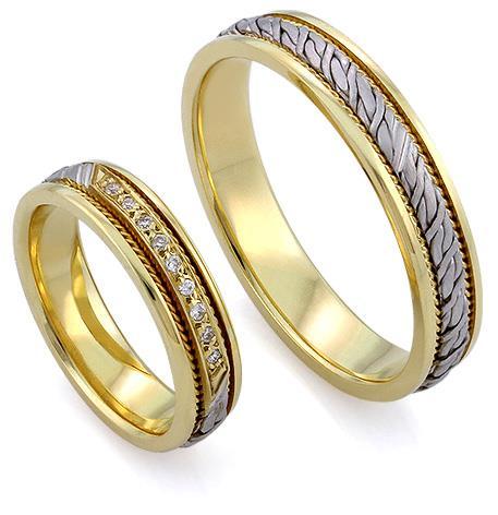 Обручальные кольца парные с бриллиантами из золота 585 пробы, артикул R-ТС L1912-1