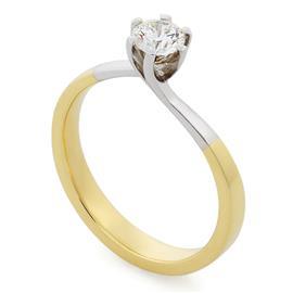Помолвочное кольцо с 1 бриллиантом 0,40 ct 6/6  белое и желтое золото 750° , артикул R-TRN03070-07