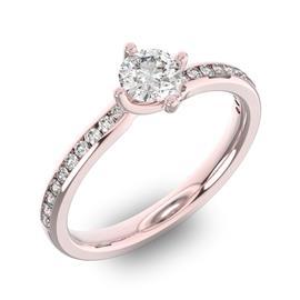 Помолвочное кольцо с 1 бриллиантом 0,45 ct 4/5  и 20 бриллиантами 0,12 ct 4/5 из розового золота 585°, артикул R-D38309-3