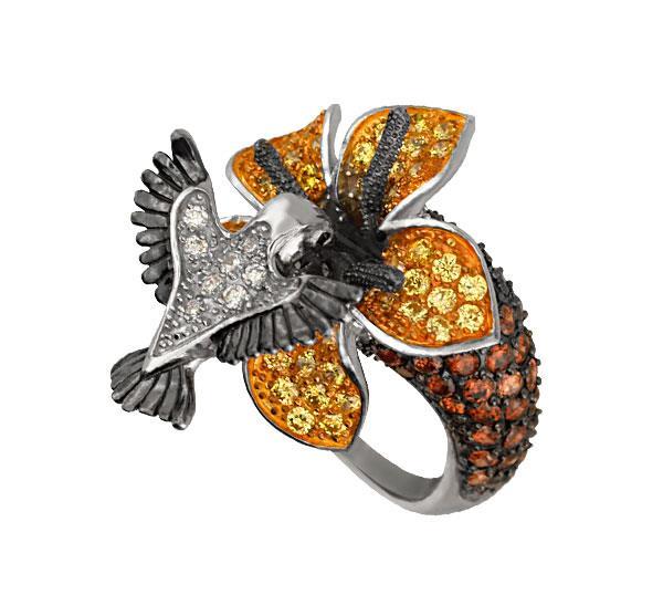 Кольцо Колибри серебро 925° кубический цирконий, артикул R-С2Т1224