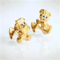 Запонки Мишки - девочки из серебра 925 пробы с покрытием золотом