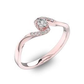 Помолвочное кольцо с 1 бриллиантом 0,15 ct 4/5  и 12 бриллиантами 0,04 ct 4/5 из розового золота 585°, артикул R-D40459-3