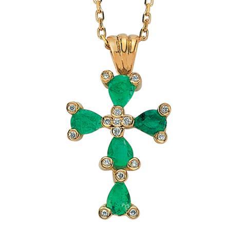 Цепь с подвеской в форме православного креста из желтого золота с 5 изумрудами 0,65 ct и 16 бриллиантами 0,04 ct 4/4, артикул R-EHС00002-01