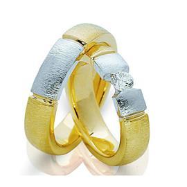 Обручальные кольца парные с бриллиантом из золота 585 пробы, артикул R-ТС 0037