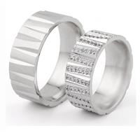 Эксклюзивные обручальные кольца парные с бриллиантами из белого золота