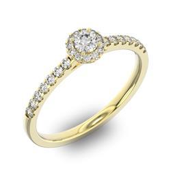 Помолвочное кольцо 1 бриллиантом 0,2 ct 4/5 и 26 бриллиантами 0,2 ct 4/5 из желтого золота 585°, артикул R-D36029-1