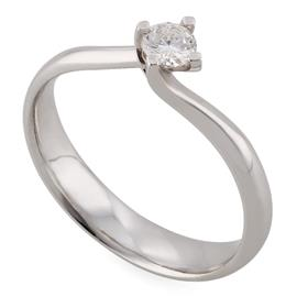 Помолвочное кольцо из белого золота 750 пробы с 1 бриллиантом 0,20 карат, артикул R-ЯК043
