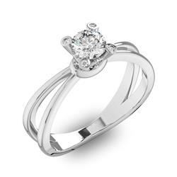 Помолвочное кольцо 1 бриллиантом 0,5 ct 4/5 и 8 бриллиантами 0,12 ct 4/5 из белого золота 585°, артикул R-D42859-2