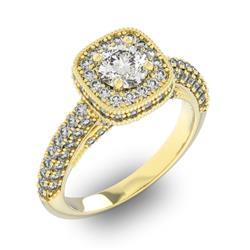 Кольцо с 1 бриллиантом 0,7 ct 4/5 и 96 бриллиантами 0,89 ct 4/5 из желтого золота 585°, артикул R-D47918-1