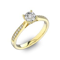 Помолвочное кольцо с 1 бриллиантом 0,45 ct 4/5  и  22 бриллиантами 0,11 ct 4/5 из желтого золота 585°, артикул R-D40517-1