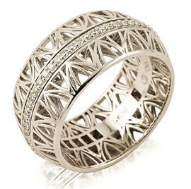 Кольцо из белого золота 750 пробы с 58 бриллиантами 0,39 карат, артикул R-ИМ 102