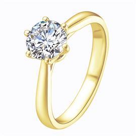 Помолвочное кольцо с 1 бриллиантом 0,26 ct 5/5  из желтого золота 585°, артикул R-GGR31-1