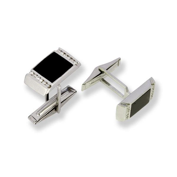 Запонки с бриллиантом и ониксом, артикул R-DCF00068-001
