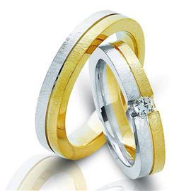 Обручальные кольца парные с бриллиантом из золота 585 пробы, артикул R-ТС 4278