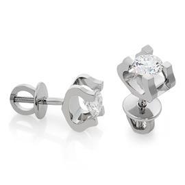 Серьги-пусеты с 2 бриллиантами 0,52 ct 3/3 из белого золота 585°, артикул R-LP007-2
