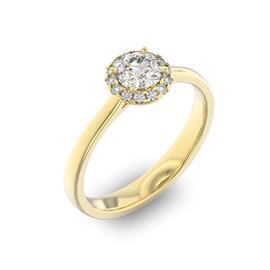 Помолвочное кольцо с 1 бриллиантом 0,45 ct 4/5  и 14 бриллиантами 0,08 ct 4/5 из желтого золота 585°, артикул R-D36014-1