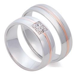 Классические обручальные кольца из белого золота с полоской в центре из розового золота 585 пробы, артикул R-St025