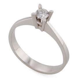 Помолвочное кольцо с 1 бриллиантом 0,14 ct 4/5 белое золото, артикул R-ИМ111
