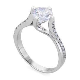 Помолвочное кольцо с бриллиантами 0,97 ct (центр 0,80 ct 4/5, боковые 0,17 ct 4/5) белое золото, артикул R-КК 022080