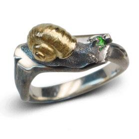 Кольцо Улитка серебро, артикул R-133606