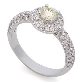 Помолвочное кольцо с 81 бриллиантом  1,48 ct (центр 1 бриллиант 0,52 ct 8 3/5, боковые 80  бриллиантов 0,96 ct 3/3) белое золото 750°, артикул R-R19604