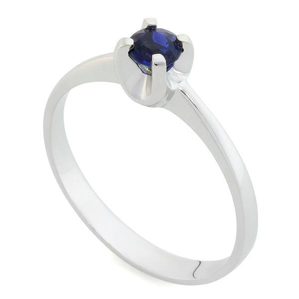 Кольцо с 1 сапфиром 0,36 ct 3/3 из белого золота 585°, артикул R-НП 007С-2