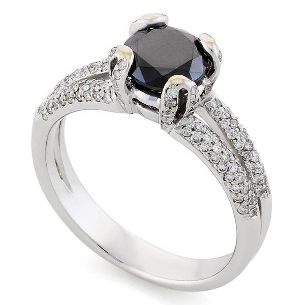 Помолвочное кольцо с 1 черным бриллиантом 1,50 ct и 130 белые бриллиантами 0,35 ct 4/4 белое золото, артикул R-НП 028