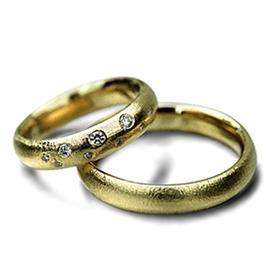 Обручальные кольца парные с бриллиантами из золота 585 пробы, артикул R-ТС 26
