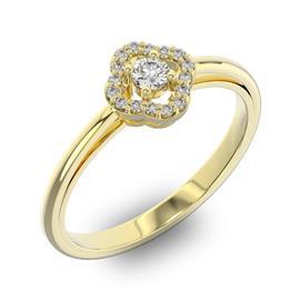 Помолвочное кольцо с 1 бриллиантом 0,1 ct 4/5  и 16 бриллиантами 0,05 ct 4/5 из желтого золота 585°, артикул R-D40458-1